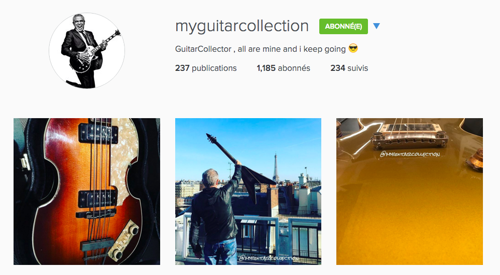 Compte Instagram @MyGuitarCollection