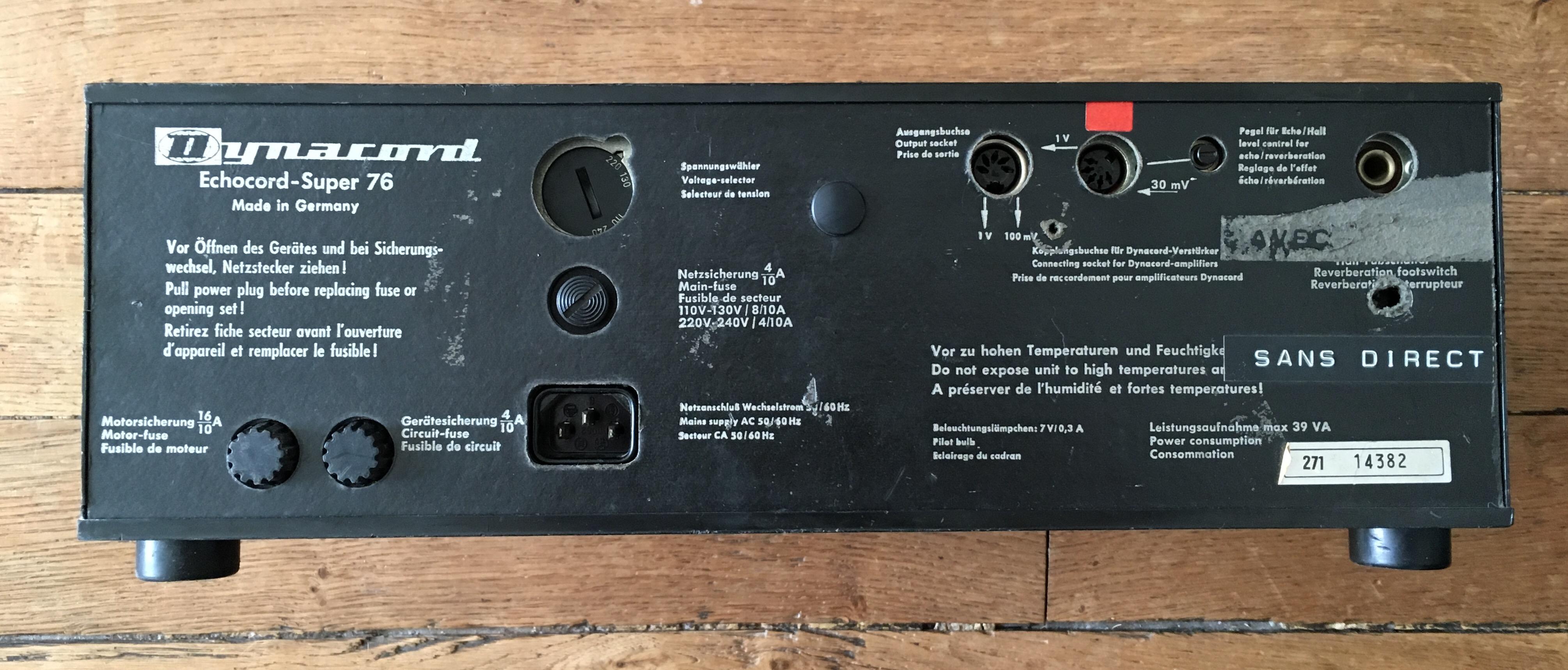 Test Dynacord Echocord Super 76 (dos) : un véritable écho à bande