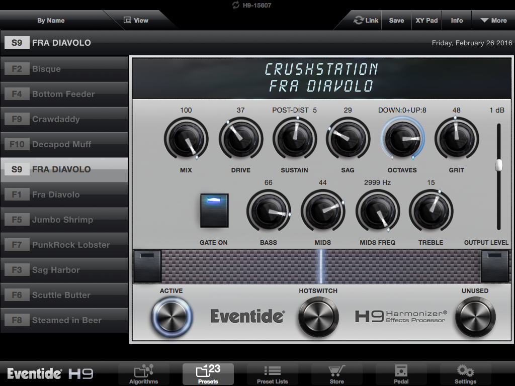 Application Eventide H9 control (iPad)