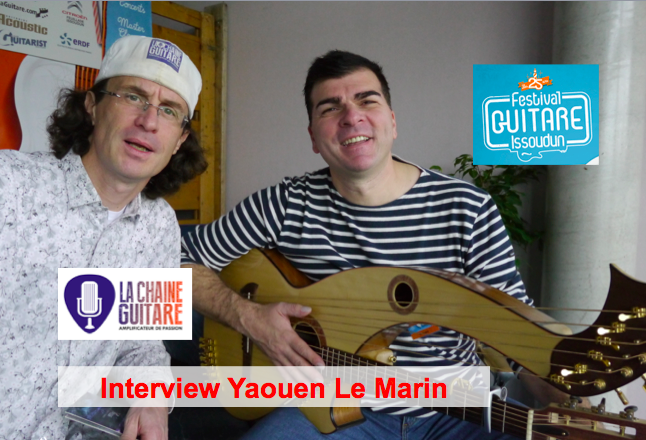 Interview Yaouen le Marin guitare-harpe à la main