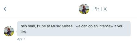 Twitter DM reçu de Phil X le 07/04/16