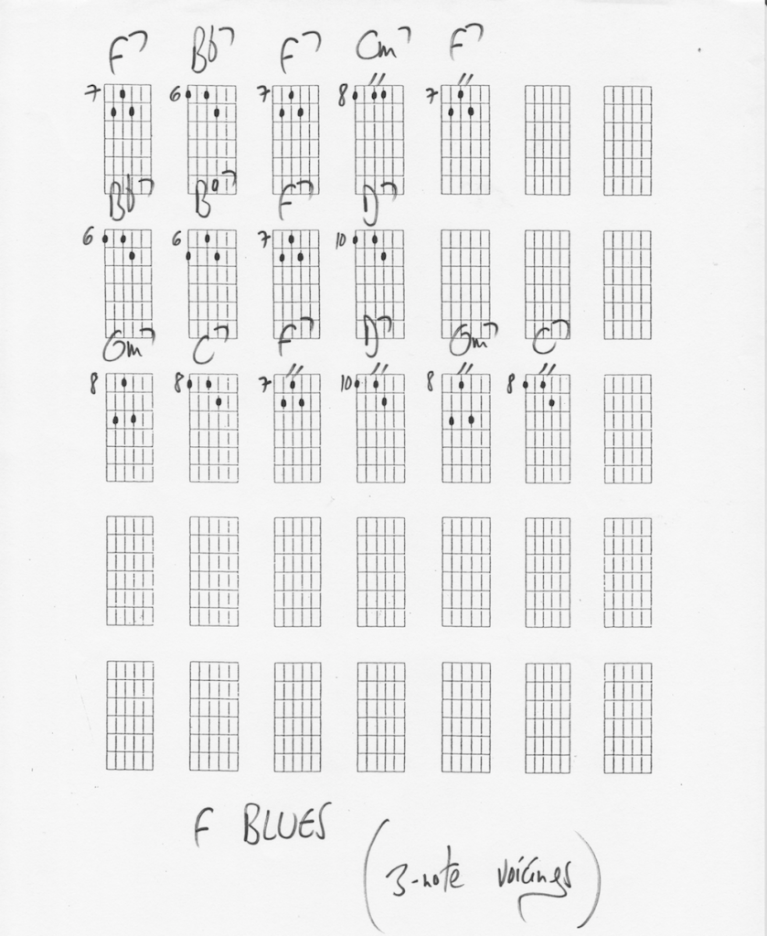 F blues 3-note voicings -