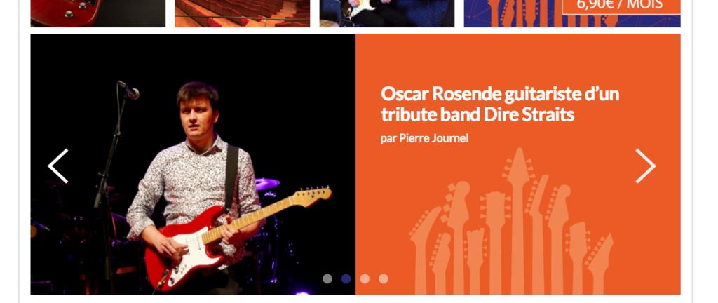 Carousel page d'accueil de La Chaîne Guitare