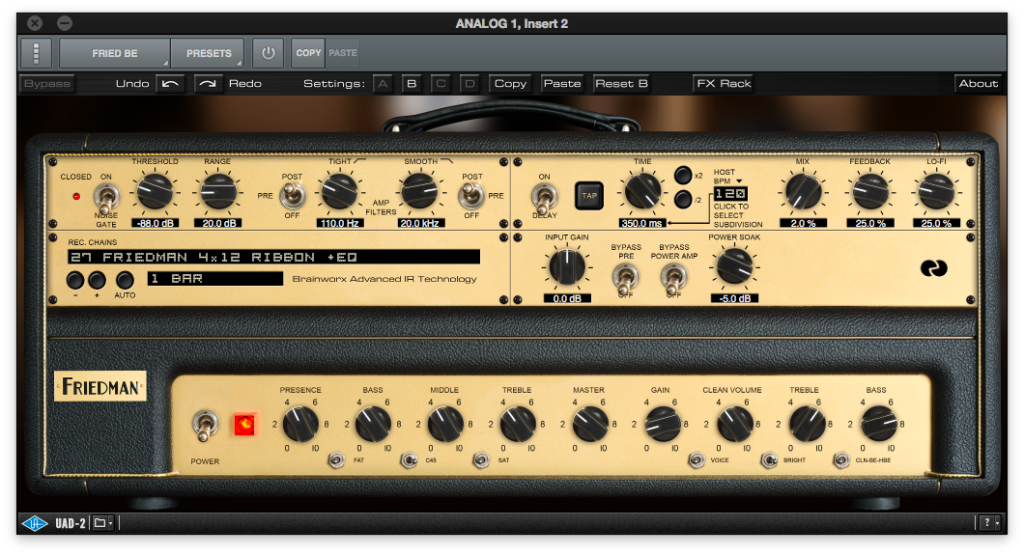 Test Plugin - Ampli Friedman BE100 Universal Audio