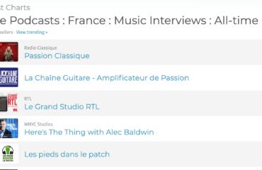 Top #2 pour le podcast de La Chaîne Guitare entre Radio Classique et RTL